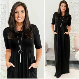 Dresses & Skirts - Black dress 3/4 long maxi high waist casual